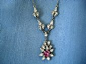 Vintage Necklace - Diamante Dropper with Pink Crystal in the Victorian Style (1940's -50's)SOLD